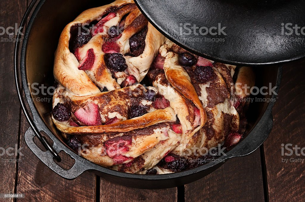 Braided Bread with Berries stock photo