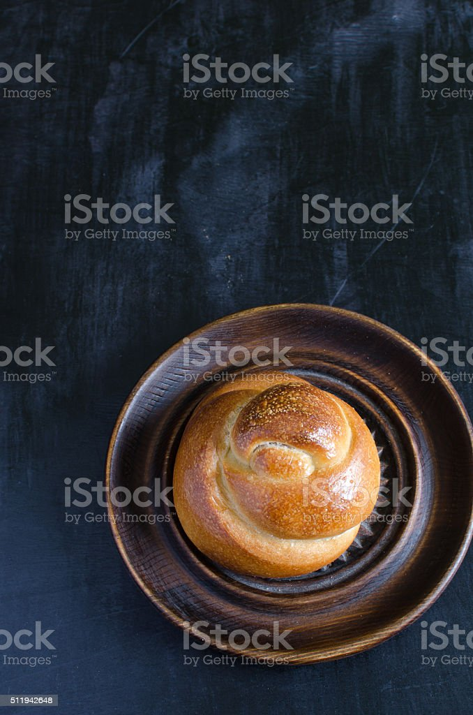 Braided Challah from wheat flour stock photo