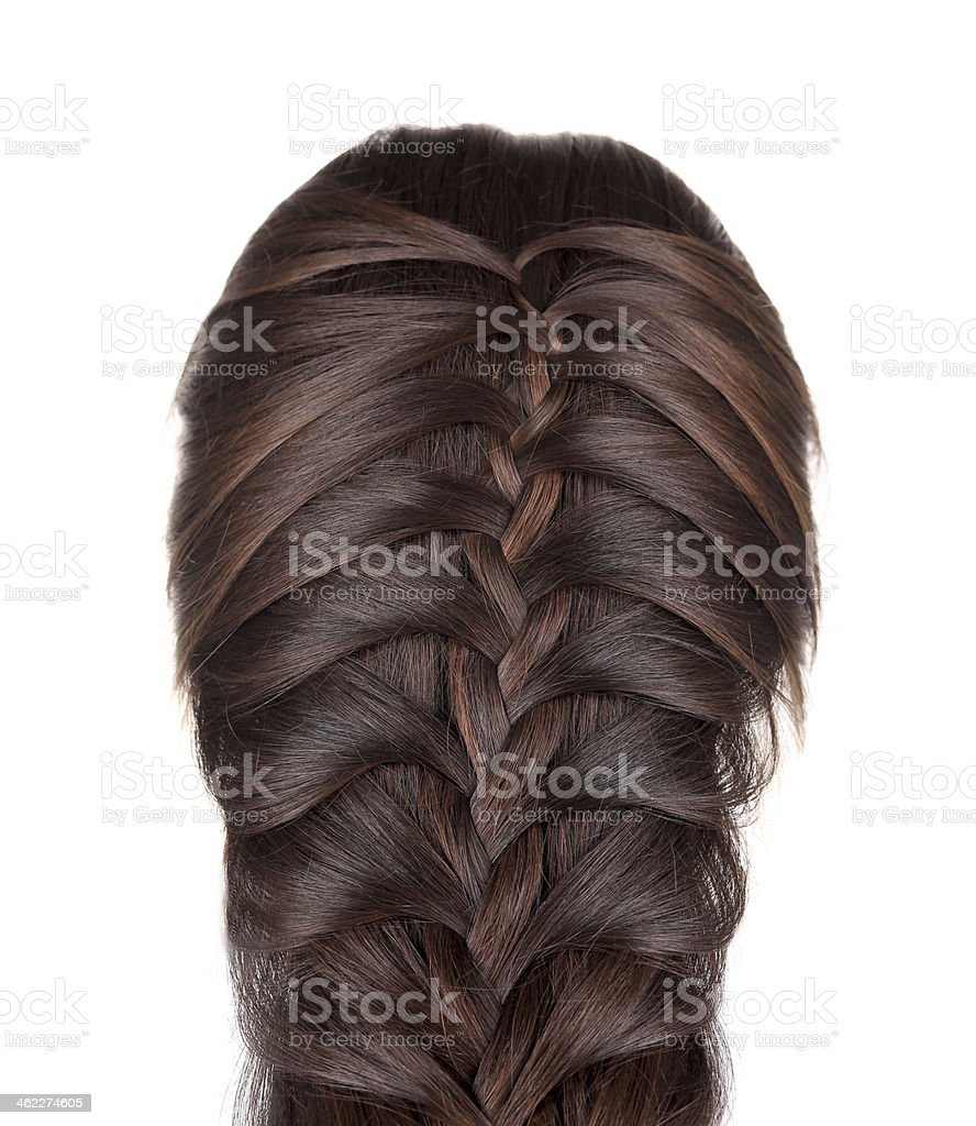 Braided Hair of a Young Woman. stock photo