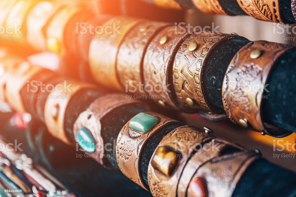 Braided handmade leather bracelets, selective focus stock photo
