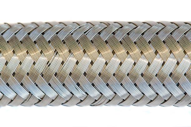 Braided metal hose stock photo
