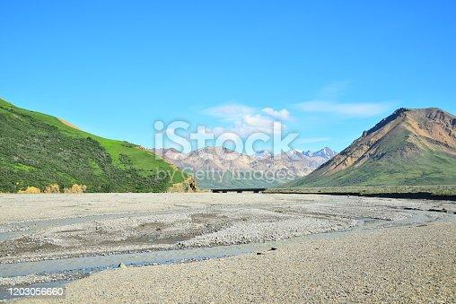 Park Road crosses the braided Toklat River in Denali National Park, Alaska.