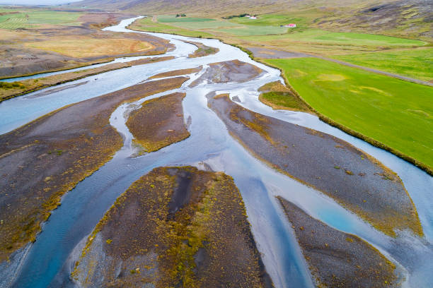 Braided River in Iceland Viewed from Above stock photo