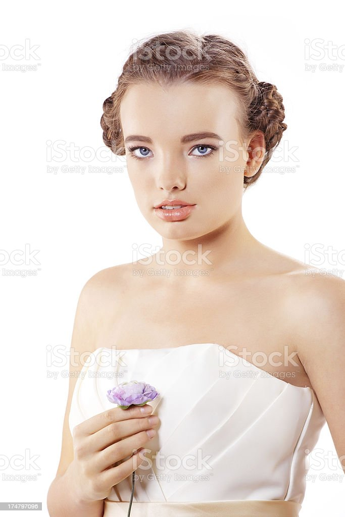 braided teenager posing against white background royalty-free stock photo
