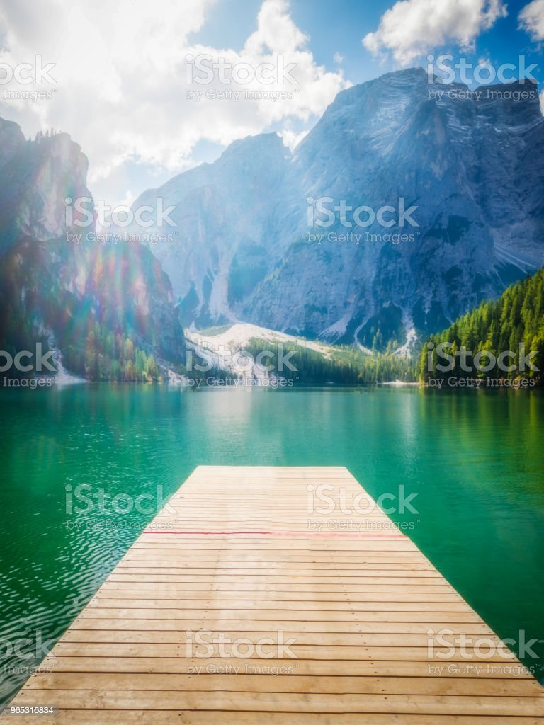 Braies Lake in Dolomites mountains Seekofel, Italy zbiór zdjęć royalty-free