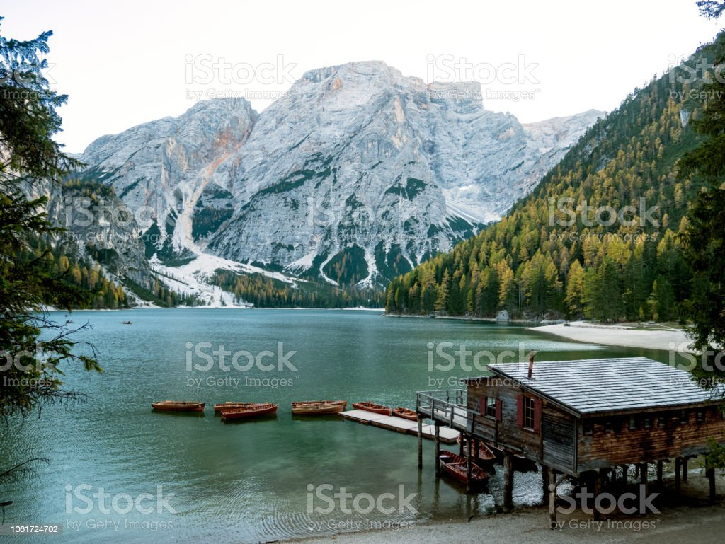 Braies Lake (Lago di Braies, Pragser Wildse) in Dolomites mountains, Sudtirol, Italy. stock photo