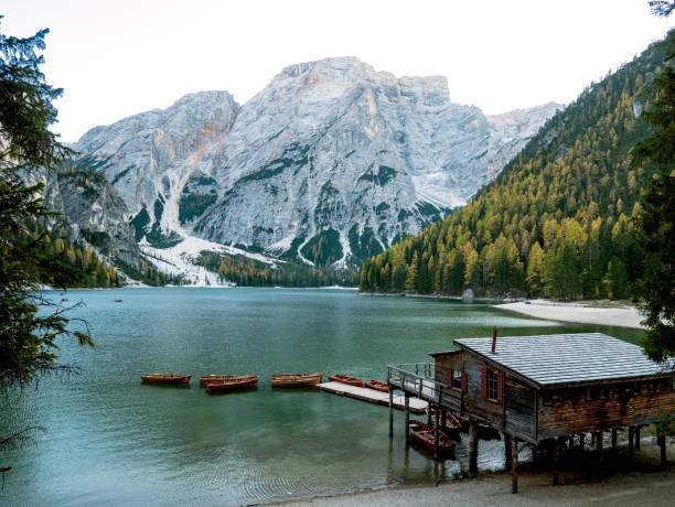 Braies Lake (Lago di Braies, Pragser Wildse) in Dolomites mountains, Sudtirol, Italy. stock photo