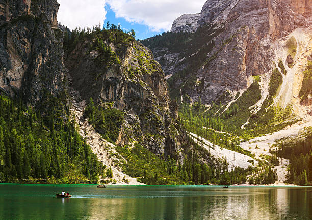 braies lake in italy - royalty stock photos and pictures