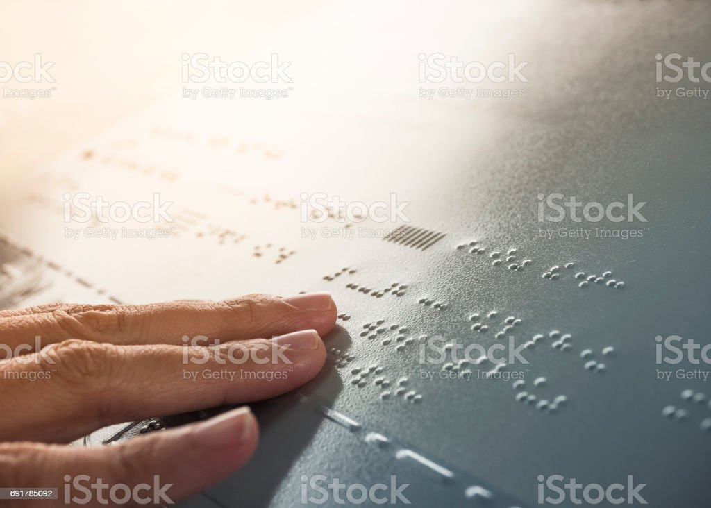 Braille Alphabet Reading Blind communication Public signage stock photo