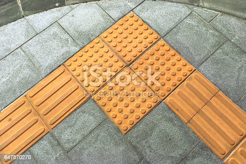 Braille Block Tactile Paving For Blind Handicap On Tiles