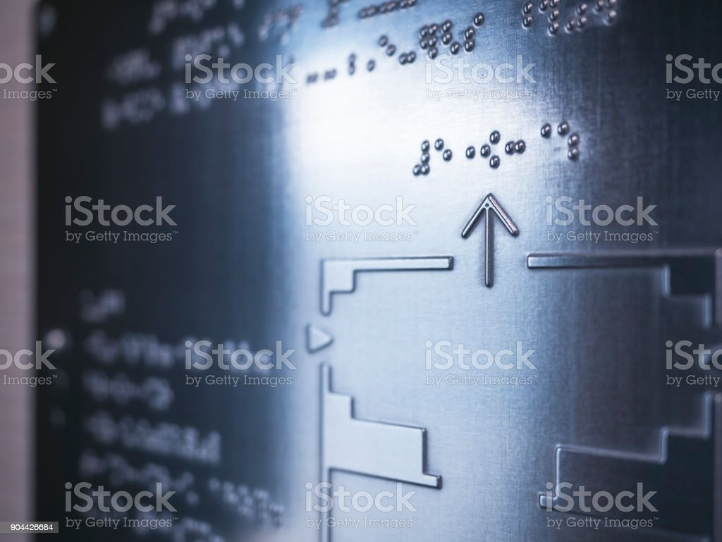 Braille Map information Reading Blind Public signage stock photo