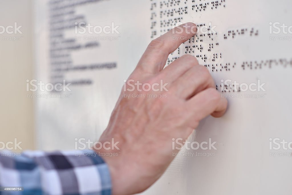 Braille-reading stock photo