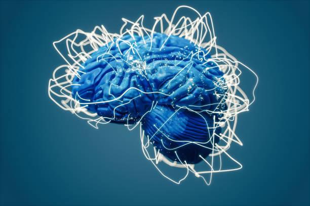 Gehirn und globale Zusammenhänge (World Map Textur Credits an die NASA) – Foto