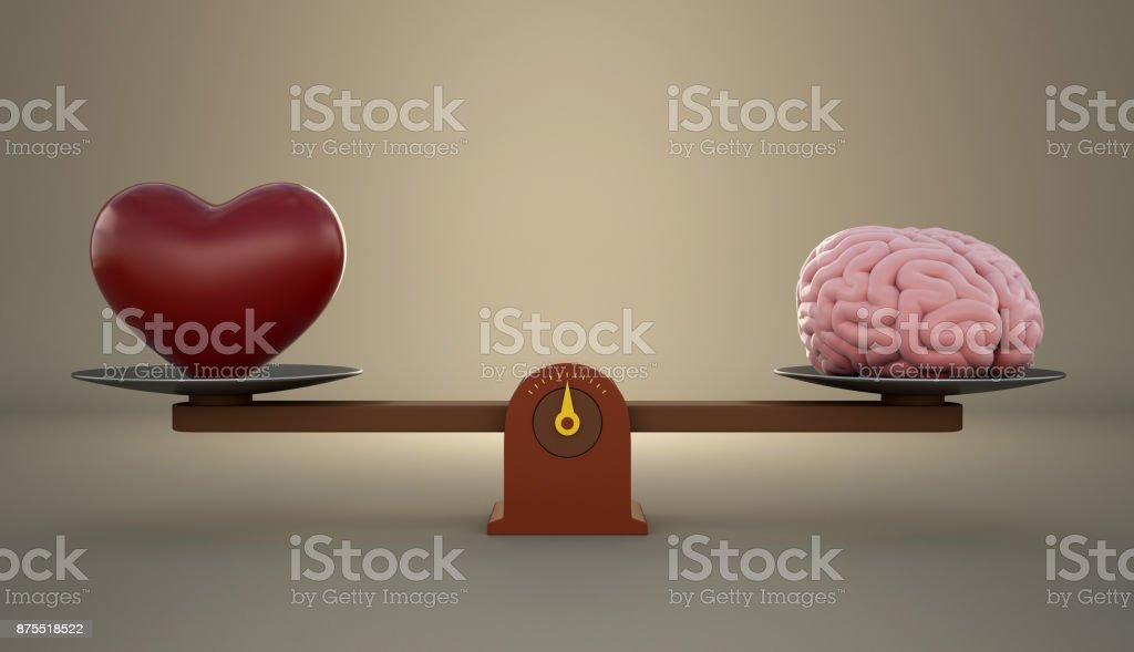 Brain and heart on a wooden balance scale. royalty-free stock photo