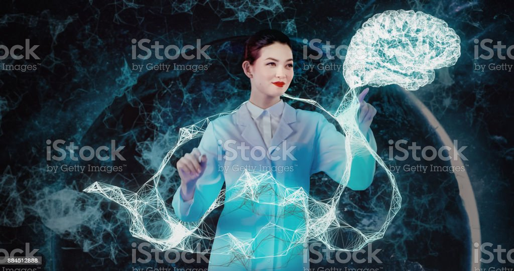 Brain and neurology research in virtual reality stock photo