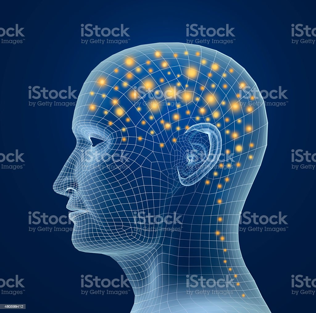 Brain, and pulses. process of human thinking stock photo