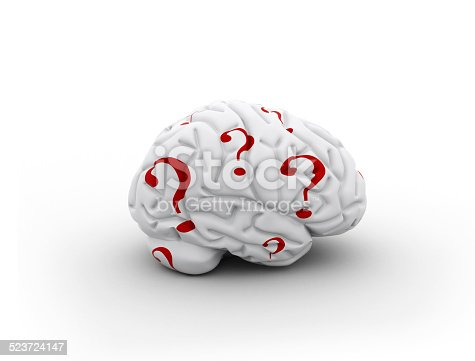 861553788 istock photo Brain and question marks 523724147