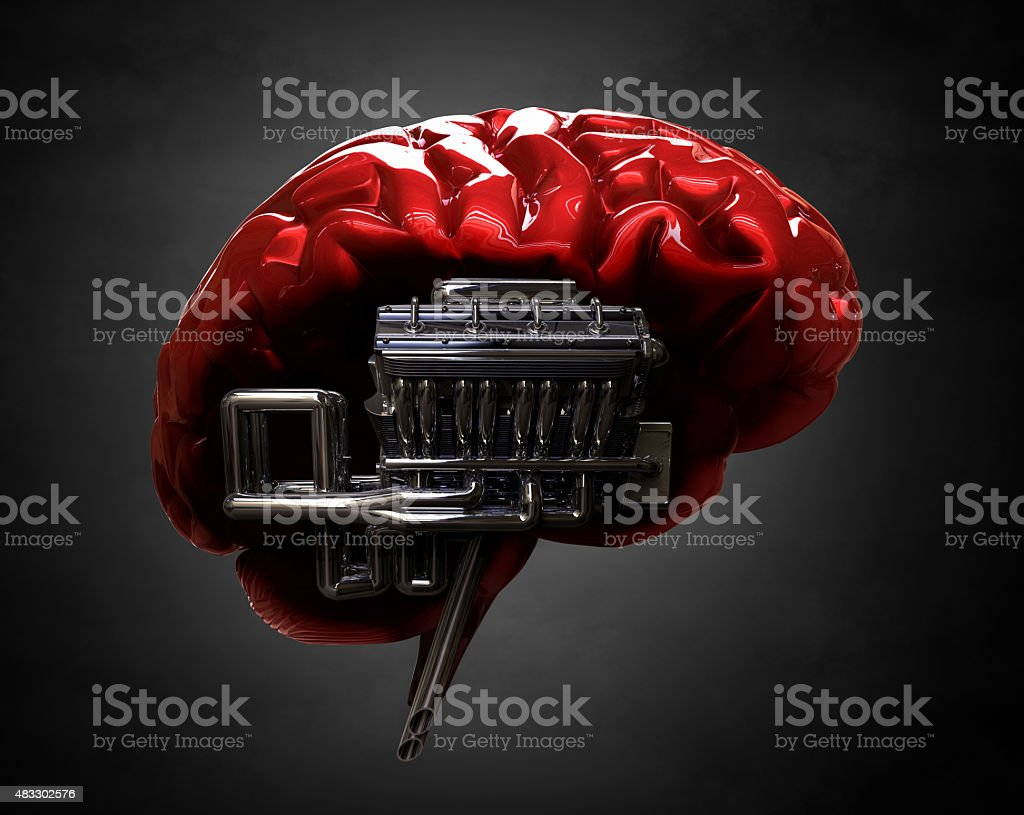 brain and v8 engine stock photo