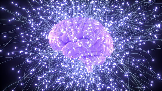 Artificial intelligence, machine learning concept with  brain.