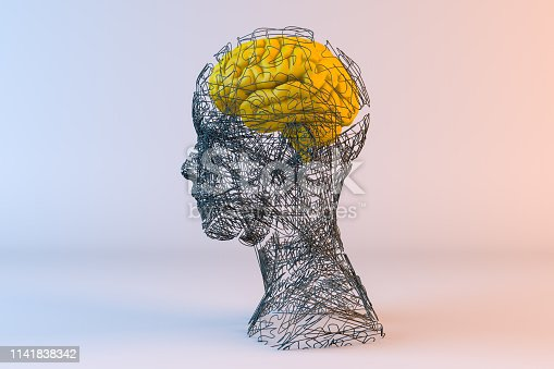 istock Brain, Artificial Intelligence Concept, Wired shape cyborg 1141838342