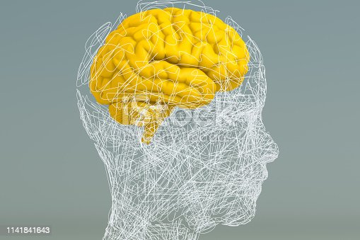 istock Brain, Artificial Intelligence Concept, Wired shape cyborg 1141841643