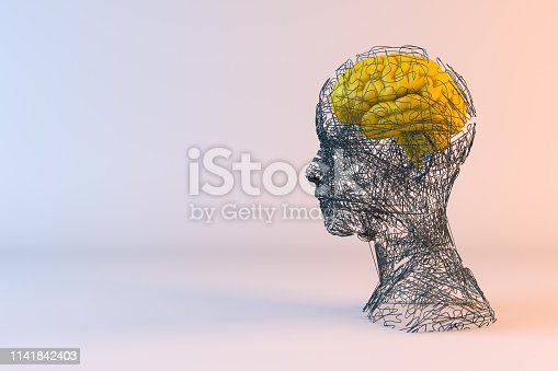 istock Brain, Artificial Intelligence Concept, Wired shape cyborg 1141842403