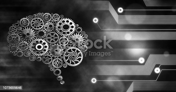 istock Brain build out of cogs Innovation with ideas and concepts,Training,business background 1073655646