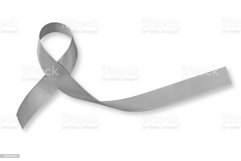 Brain cancer grey color awareness ribbon isolated on white background (clipping path) stock photo