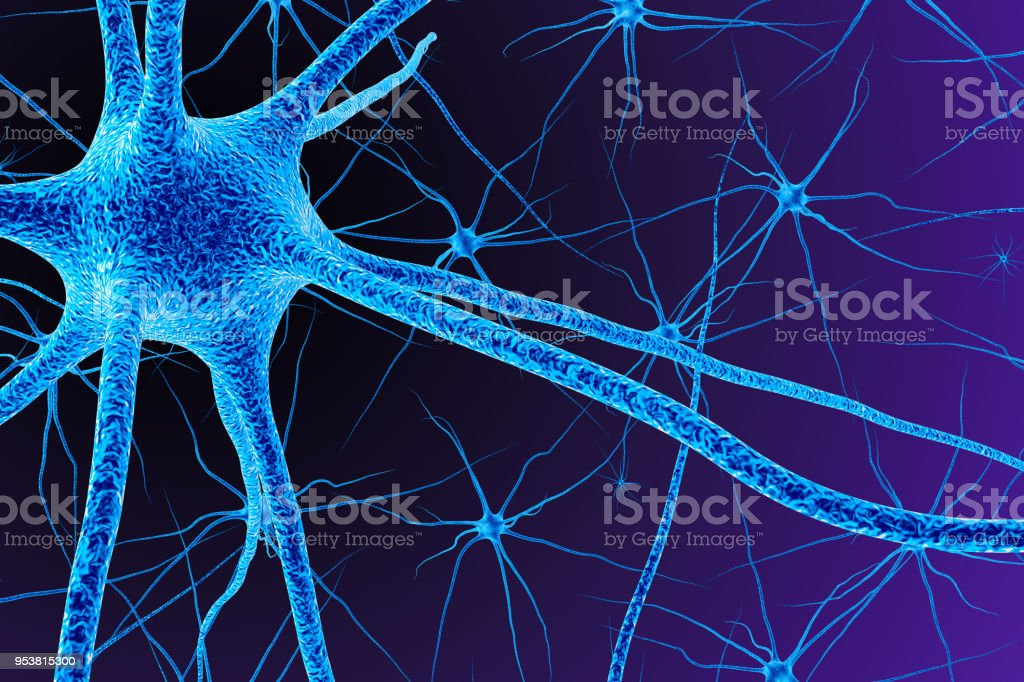 Brain cell. 3D render stock photo