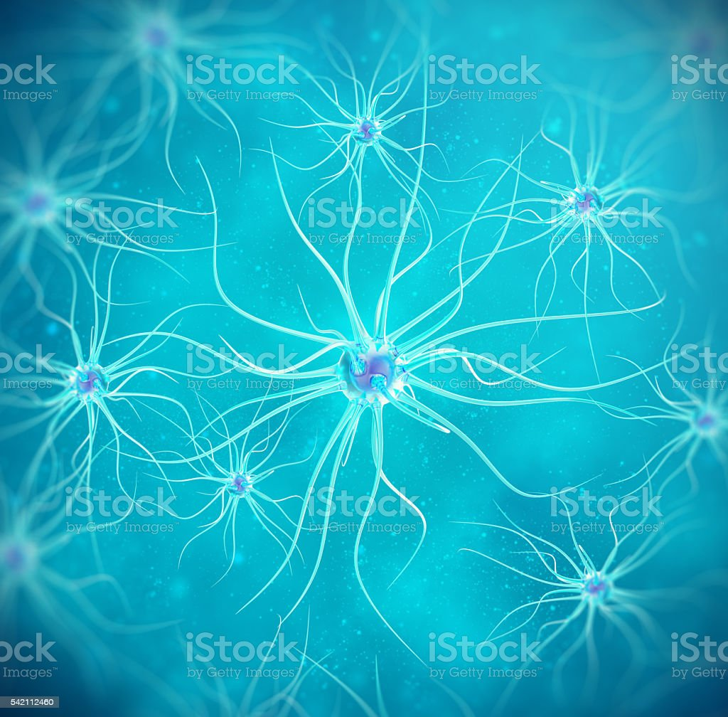 Brain cells on blue background. 3d illustration high quality stock photo