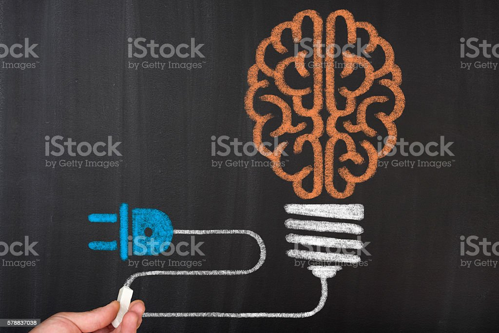 Brain Charging on Power Plug stock photo