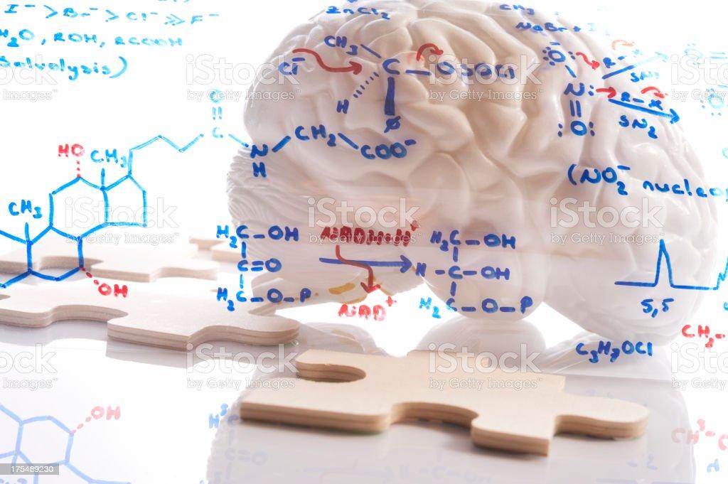 Brain chemistry puzzle stock photo