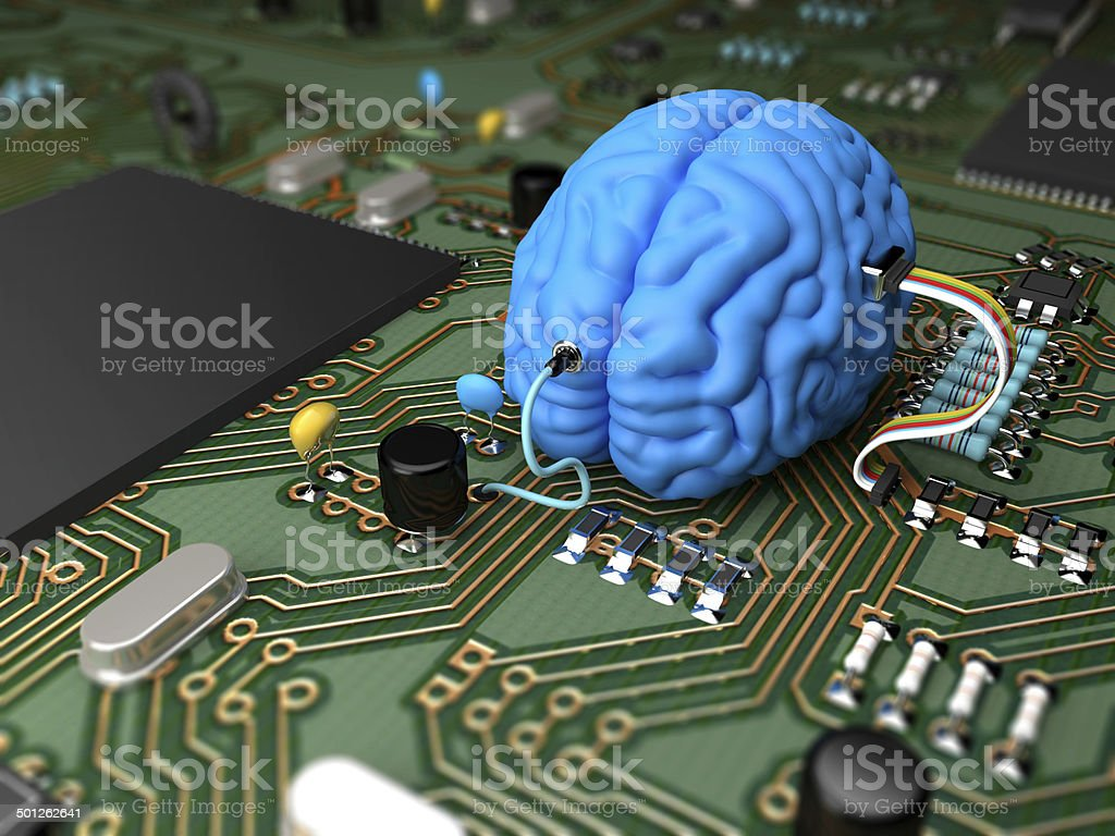 Brain chip stock photo