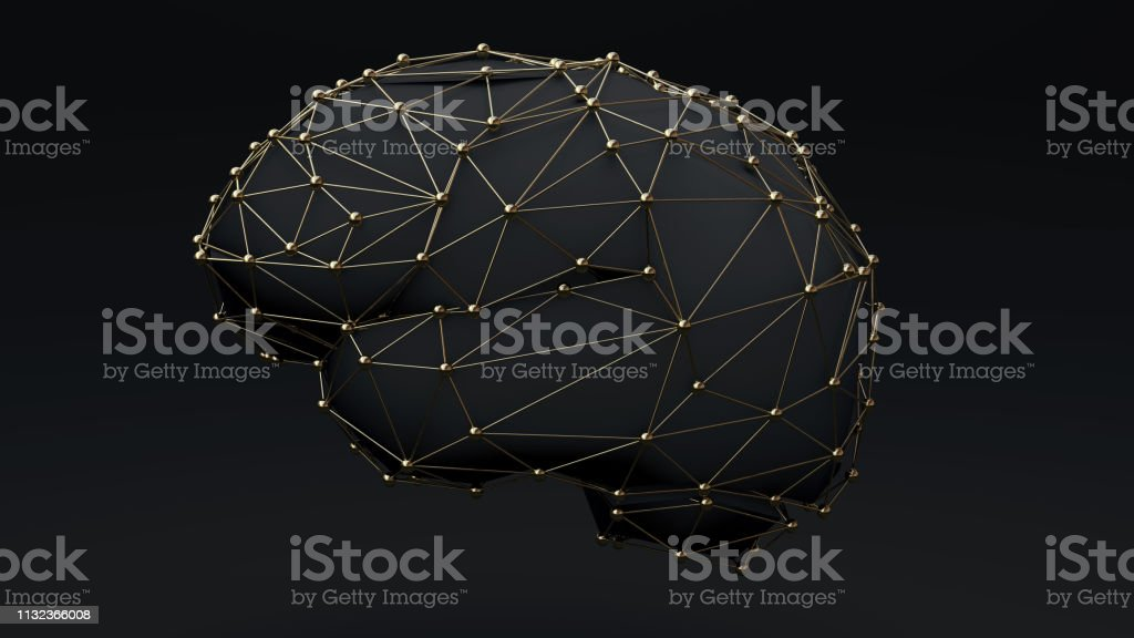 Brain connection Gold stock photo