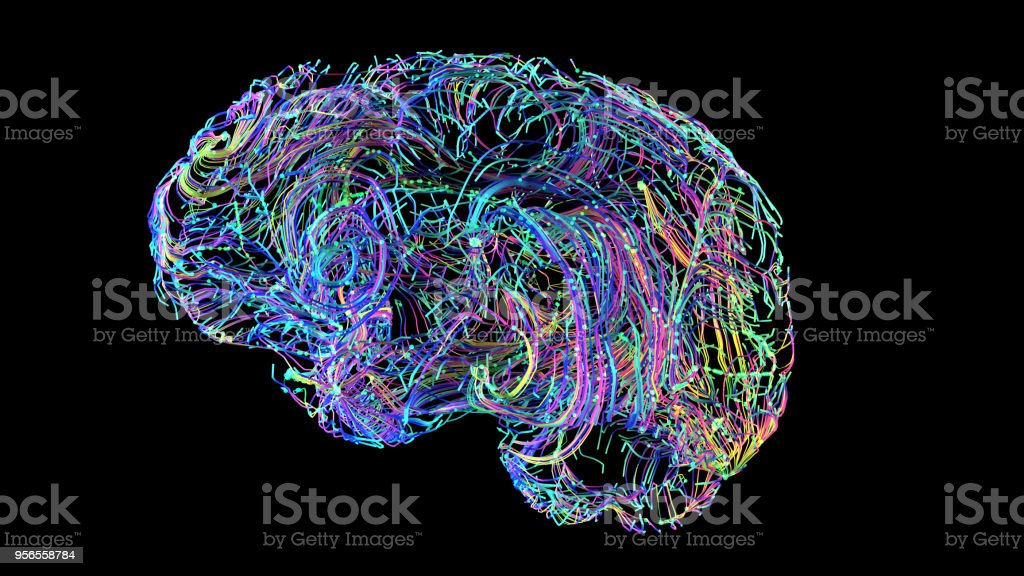 brain connections colorful stock photo