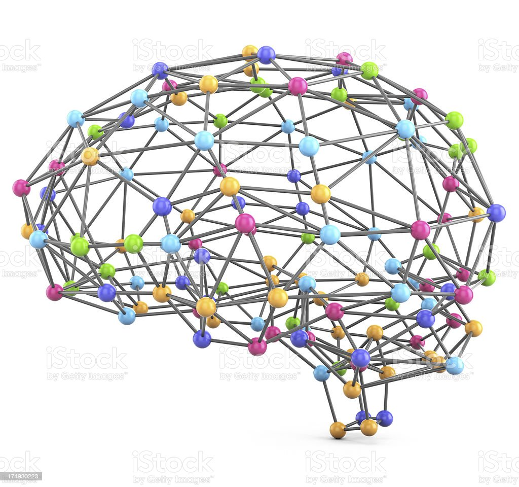 Brain connections model royalty-free stock photo