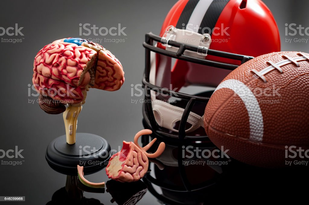 Brain damage and sports injury concept stock photo
