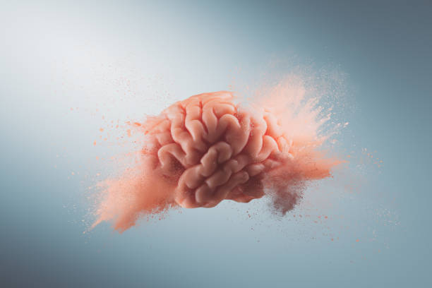 Brain exploding with new ideas stock photo