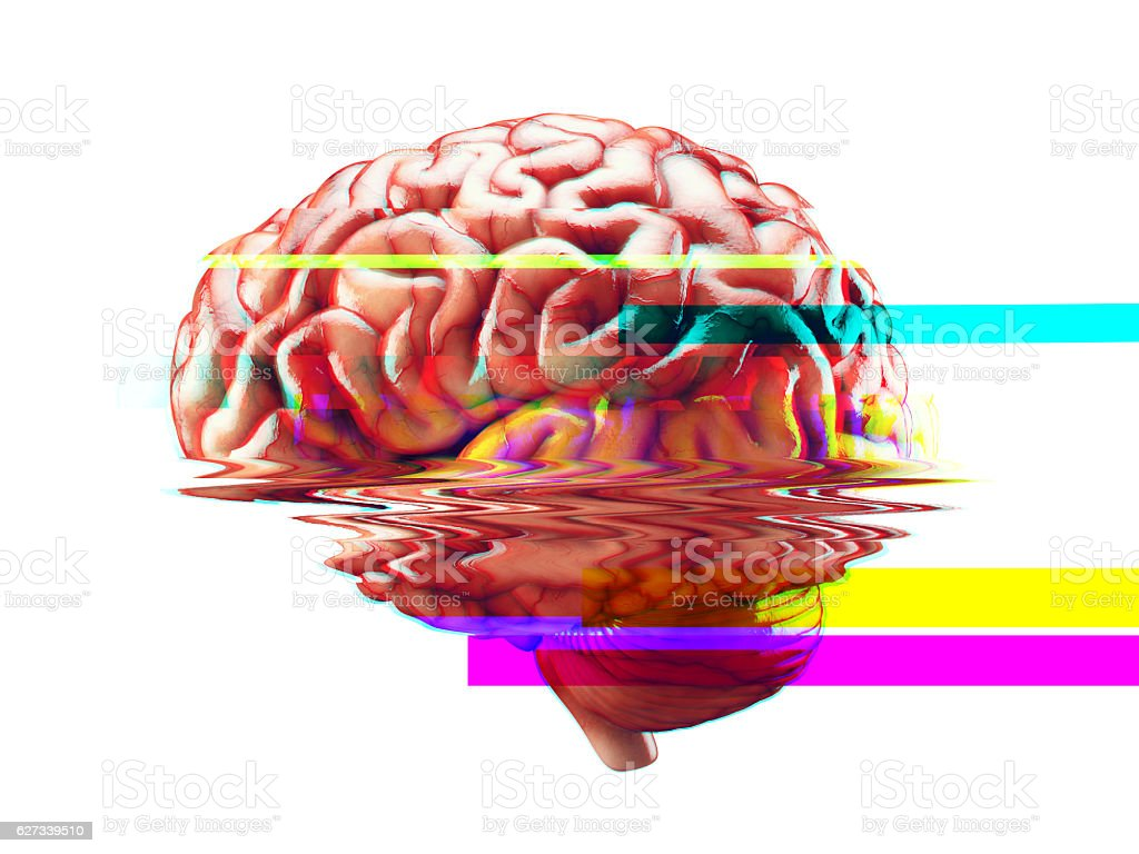 Brain failure glitch effect stock photo