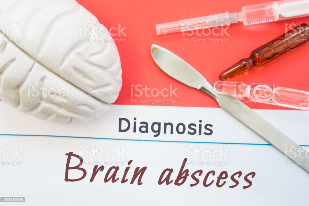 Brain figure, surgical scalpel, syringe and vials lying around title Diagnosis Brain Abscess. Concept photo for diagnosis, surgical and medicinal treatment of disease stock photo