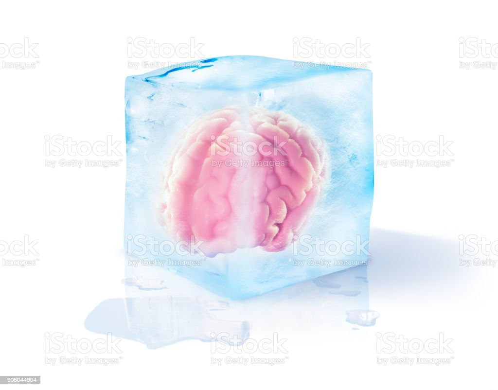 brain freeze concept isolated on white stock photo