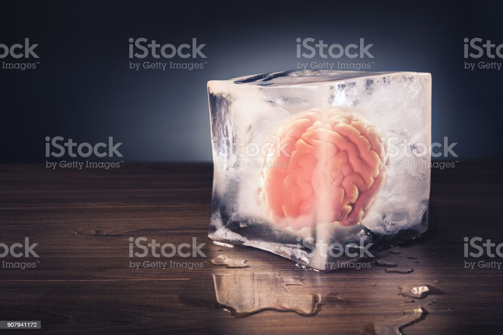 brain freeze concept with dramatic lighting stock photo