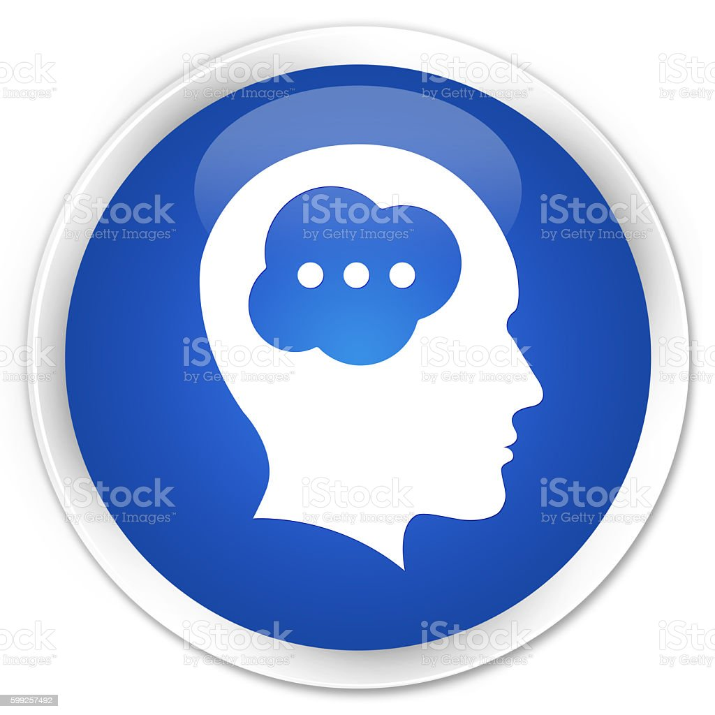 Brain head icon blue glossy round button stock photo