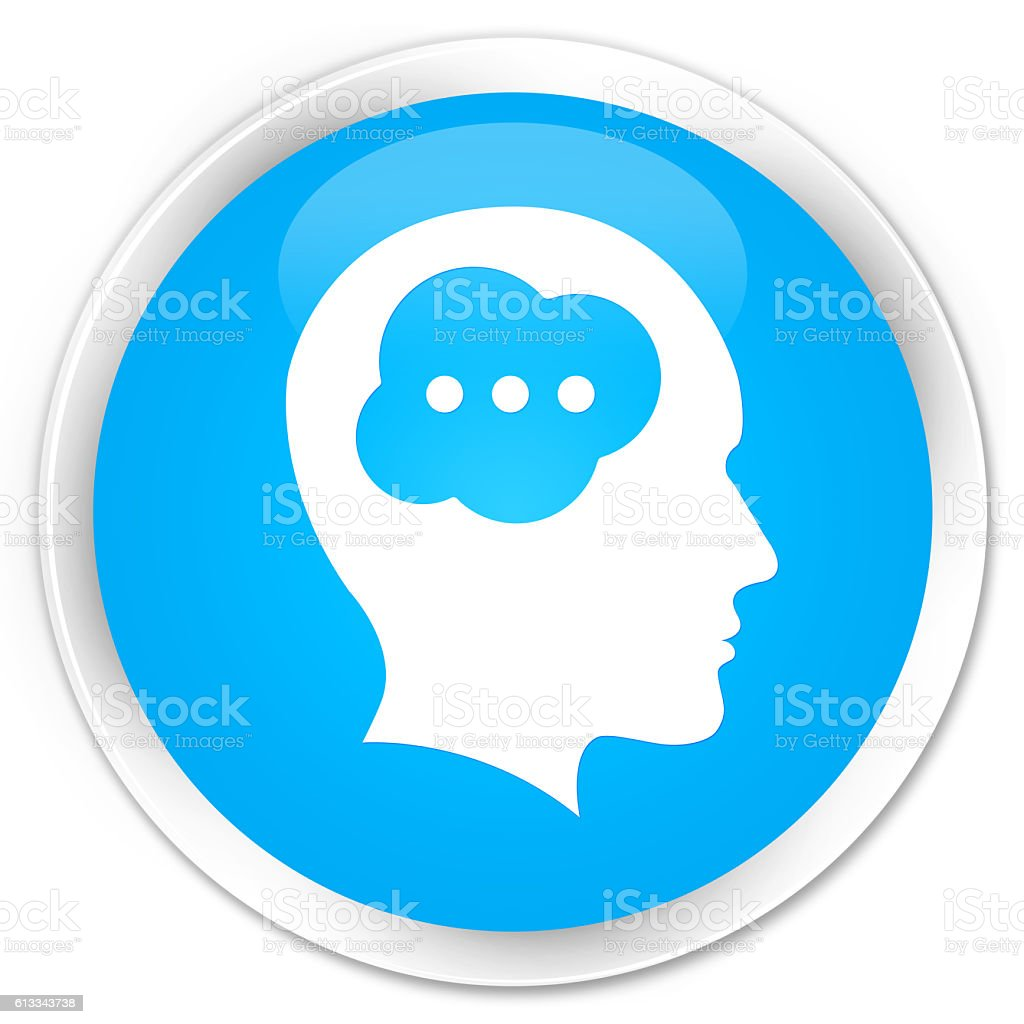 Brain head icon cyan blue glossy round button stock photo