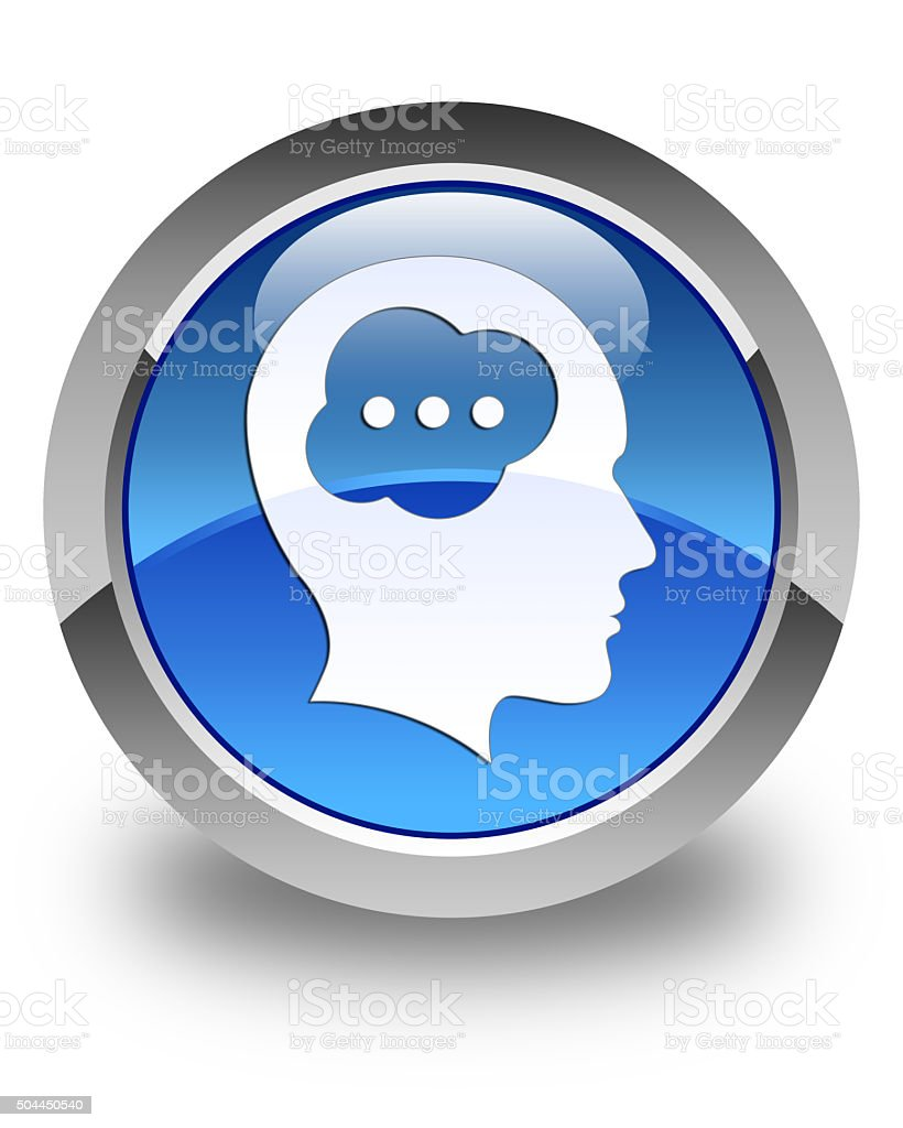 Brain head icon glossy blue round button stock photo