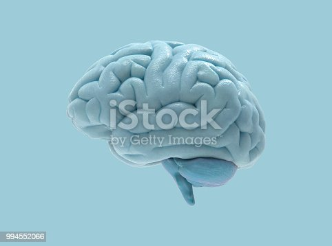 istock 3D brain illustration isolated on blue BG 994552066