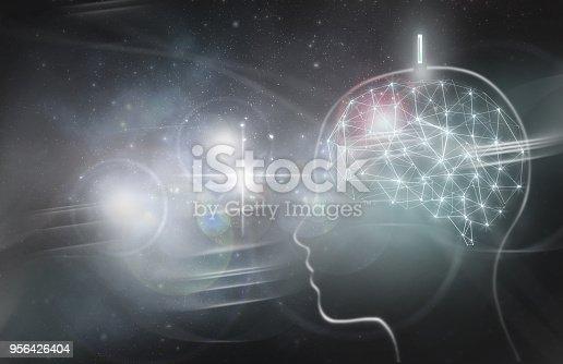Human brain with digital implant