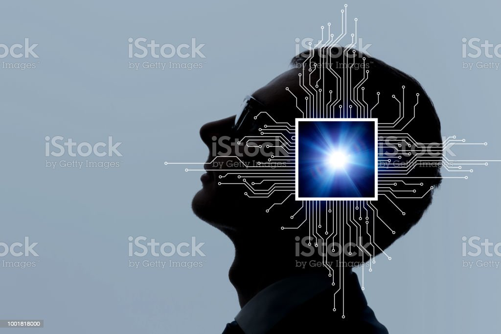Brain implant concept. - foto stock