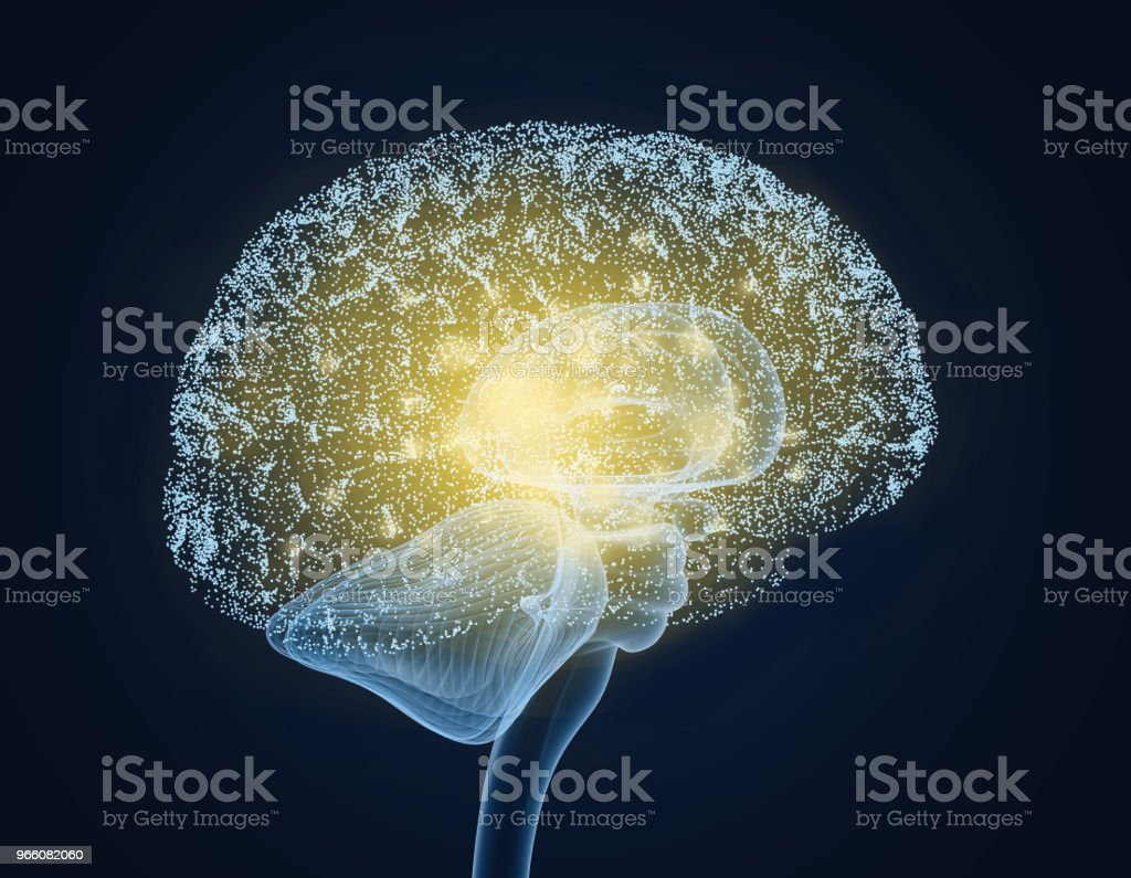 Brain impulses. Thinking prosess stock photo