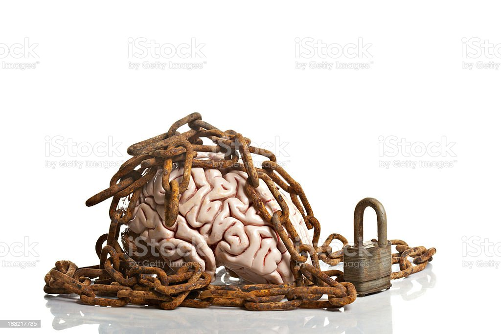 Brain In Chains Represents A Closed Mind stock photo